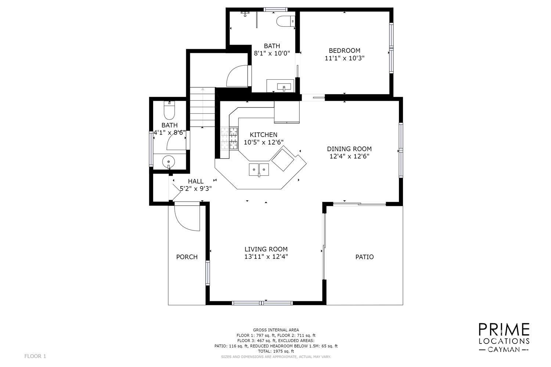 1st Floor Plans Open Concept  1 Bed/1.5 Bath