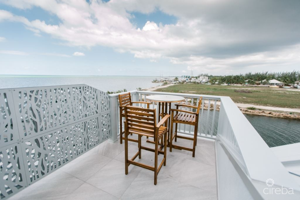 Panoramic waterfront rooftop terrace